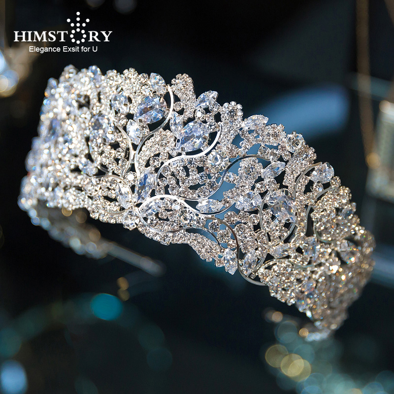 Himstory Gorgeous Stunning Wedding Cubic Zircon Tiara Crown Queen Princess Pageant Party Headpiece Bridal Hair Accessories