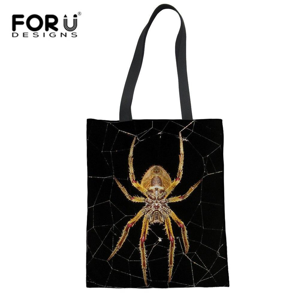 FORUDESIGNS Spider Print Shopping Tote Kawaii Cats Animal Shopping Bag Casual Beach Satchel Handbag For Lady Women Reusable Bags