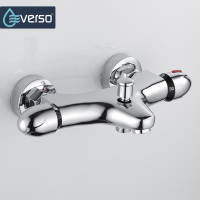 EVERSO Bathroom Shower Faucet Thermostatic Faucet Dual Handles Thermostatic Mixer Valve Bathtub Faucets Wall Mounted