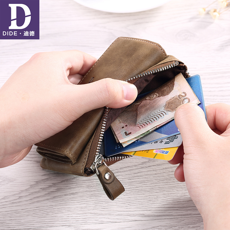 DIDE Genuine Leather Purse Wallet Women Large Capacity Car key Zipper Coin Purses Men Card Holder Vintage style