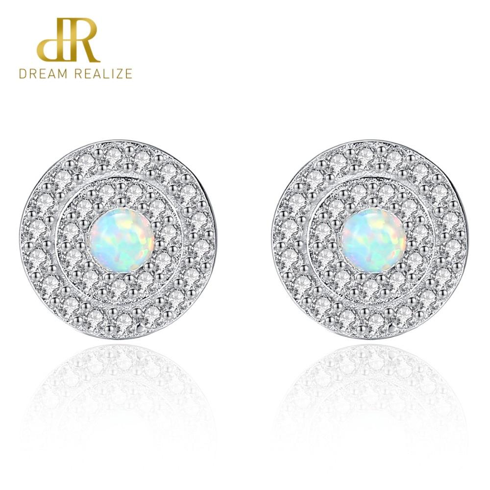 DR Genuine 925 Sterling Silver Stud Earrings for Women Fire Opal Round Shape Charming Women Post Earring Engagement Jewelry in Earrings from Jewelry Accessories