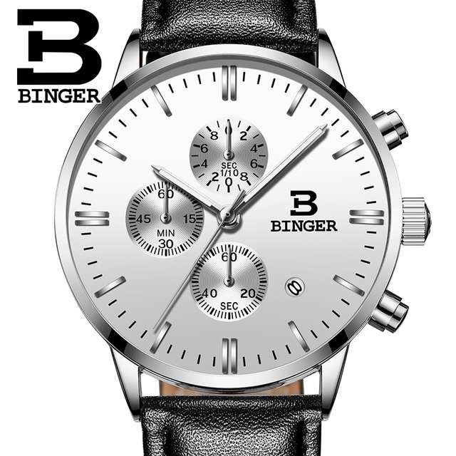 Genuine BINGER Quartz Male Watches Genuine Leather Watches Racing Men Students Game Run Chronograph Watch Male Glow Hands 2017 3