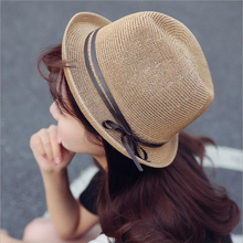 BINGYUANHAOXUAN 2018 Fashion Hollow Out Summer Straw Trilby Hats Beach Panama Sunhat with Bow Jazz Top