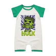 Летний комбинезон для маленьких мальчиков, одежда для новорожденных, Халк, с коротким рукавом для младенцев, хлопковые комбинезоны на возраст от 0 до 18 месяцев