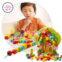 Cute Cartoon Baby Early Learning Educational Wooden Roller Coaster Round Beads Toys For Children Kids Gift