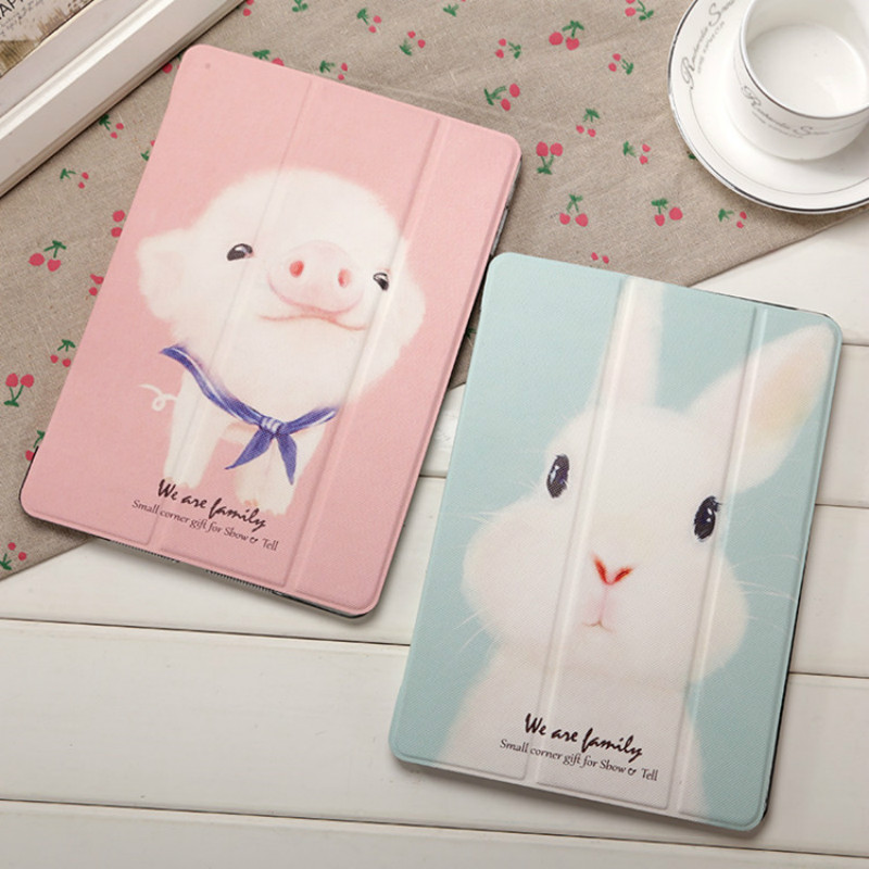 JIKE New Creative Ultra Thin Fashion Cartoon Cute Rabbit Pig TPU Silica Gel All Inclusive Pad Case for Ipad 2 3 4 Mini Air