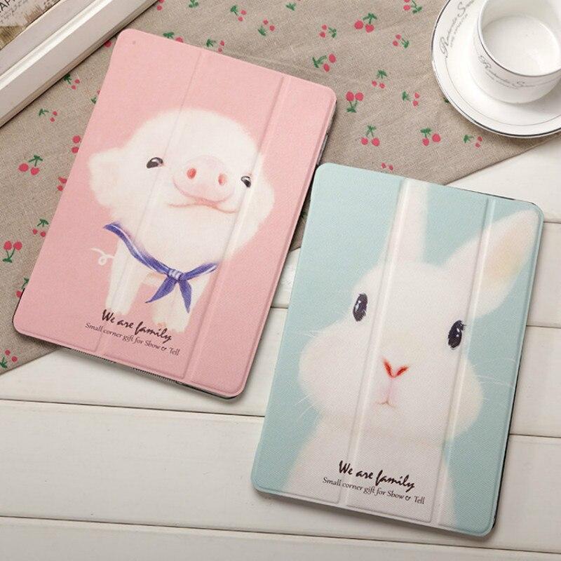 JIKE New Creative Ultra Thin Fashion Cartoon Cute Rabbit Pig TPU Silica Gel All Inclusive Pad Case for Ipad 2 3 4 Mini Air