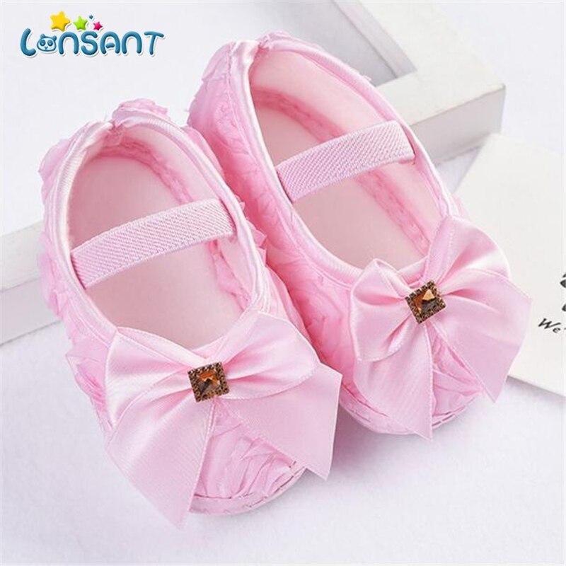 LONSANT детская обувь для новорожденных девочек, розовый бант, эластичная лента, прогулочная обувь E1120