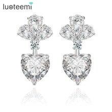 Yiwu LUOTEEMI Brand Earrings Fashion Luxury Clear Zircon Earrings for Women Bridal Wedding Drop Earrings Jewelry Accessories