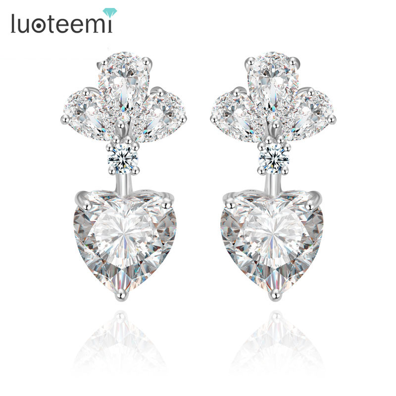 Yiwu LUOTEEMI Anting Merek Fashion Mewah Batal Zircon Earrings untuk Wanita Bridal Pernikahan Drop Earrings Perhiasan Aksesoris