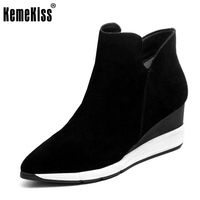 KemeKiss Women Genuine Leather Ankle Wedges Boots Zipper Warm Fur Shoes Coold Winter Boots Short Botas