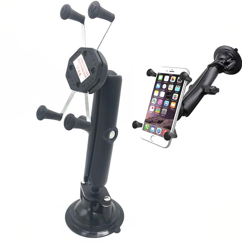 Giro montaje de la succión de la Copa con doble de longitud hembra brazo y Universal X Grip soporte para teléfono ram montaje-in Carcasas para cámaras de deporte from Productos electrónicos    1