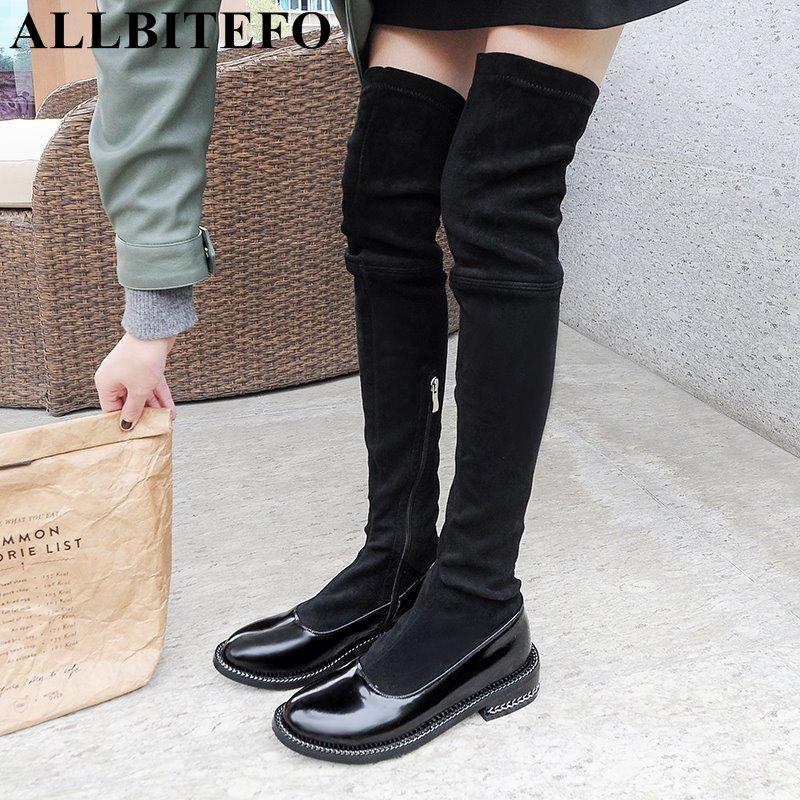 ALLBITEFO new arrive genuine leather+Stretch material thick heel women boots brand low-heeled mixed colors over the knee bootsALLBITEFO new arrive genuine leather+Stretch material thick heel women boots brand low-heeled mixed colors over the knee boots