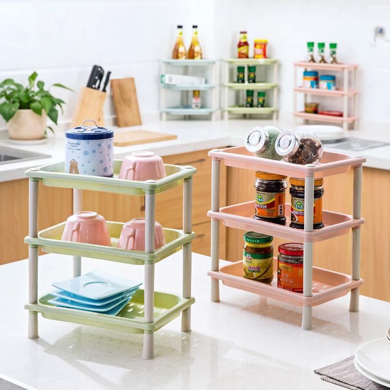 DIY 3 Layers Plastic Desk Storage Rack Makeup Cosmetic Organizer Wall  Corner Shelf Kitchen Bathroom Accessories On Aliexpress.com | Alibaba Group