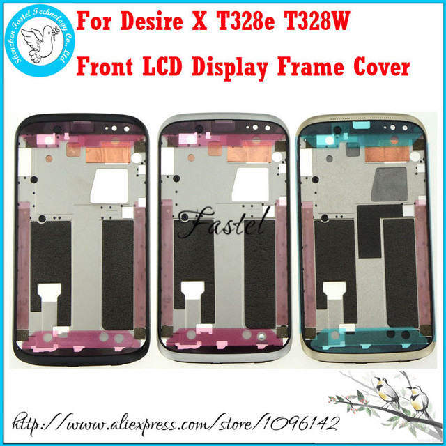 For HTC Desire X T328e T328w Black Grey Gold New Original Front Housing Bezel Faceplate Front LCD Display Frame Cover Case