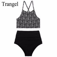 Trangel Brand New Bikini 2017 High Waist Swimsuit Summer Bikinis High Neck Swimwear Women Sexy Push