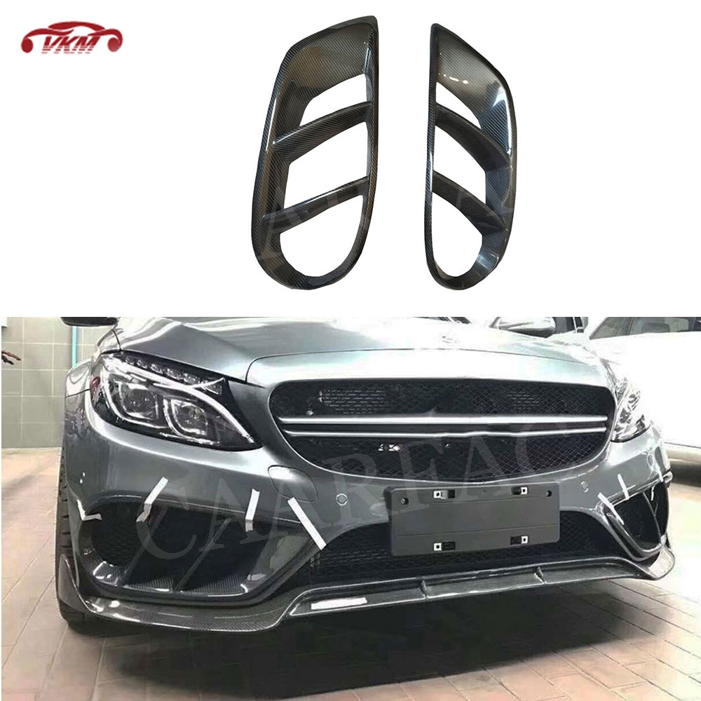 Factory outlet Front <font><b>Bumper</b></font> Vent Air Mesh Grill Trims for <font><b>Benz</b></font> <font><b>W205</b></font> C200 C300 Sport C43 AMG 2015-2019 FogLamp outlet Frame Cover image