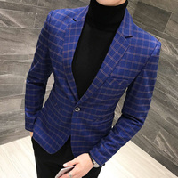 One Button Plaid Check Blazer Men Slim Fit 3 Colors Vintage Business Casual Homens Blazer Hombre Terno Masculino Stylish Blazers