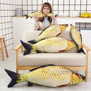 Image 1 - 1pc ファッションシミュレーション鯉ぬいぐるみ魚ぬいぐるみ枕子供クリエイティブソファベッド枕なだめるおもちゃクリスマスギフト