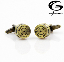 hot deal buy free shipping men's cufflink bronze bullet design novelty vintage cuff links wholesale&retail