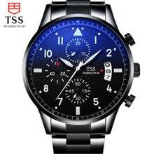 TSS Hommes Casual Montre en acier Inoxydable De Luxe Hommes Montres À Quartz Montre-Bracelet CHRONOGRAPHE et 24 heures Fonction Sport Montre Relogio