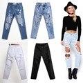 Alta Qualidade Mulheres Meninas Cintura Alta Angustiado Colheita Rasgado Buraco Destruído jeans Skinny Jeans Calças