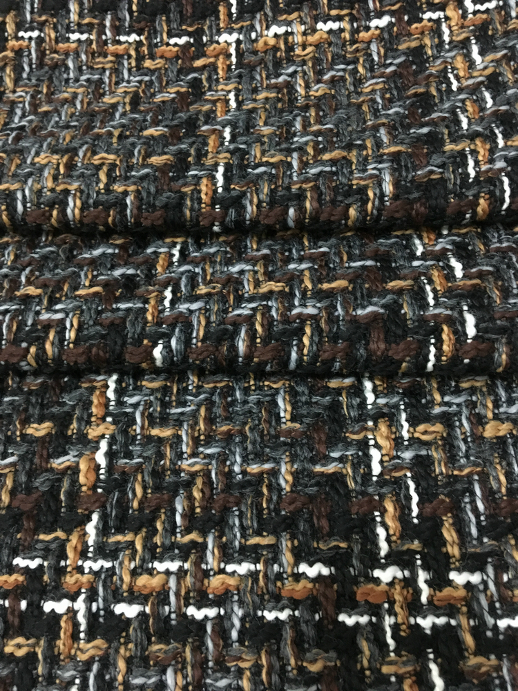 brown color thick wool tweed fabric,145cm width yarn dyed braided tweed fabric for womens overcoat, warm tweed coat fabric