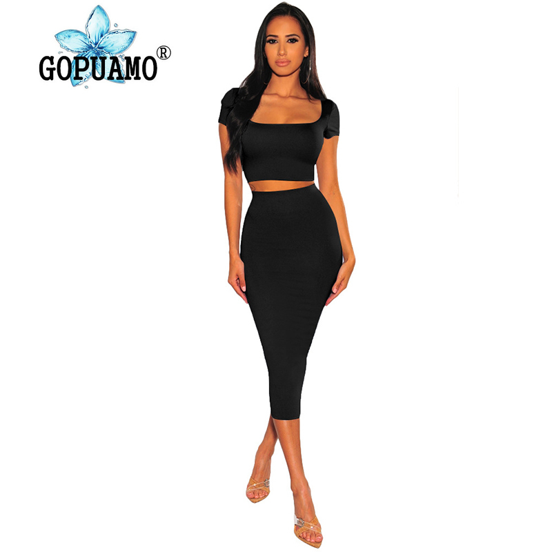 Sexy Two Piece Club Outfit Women Clothes Square Collar Short Sleeve Crop Top And Bandage Mid-Calf Skirt High Waist Matching Set