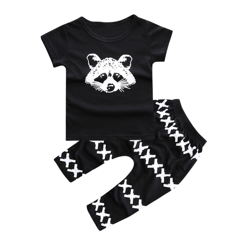 2017 New Summer baby boy clothes short-sleeved fox avatar baby Romper baby girl clothes newborn clothing set