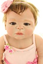 new 58cm Victoria full silicone vinyl hand-rooted mohair lifelike newborn lifelike reborn baby doll for girls gifts
