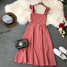 Vintage-Women-Solid-Dress-2019-Summer-Square-Collar-Knee-Length-Dress-Chic-Ruffles-Spaghetti-Strap-Casual
