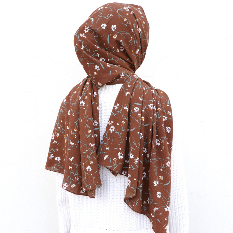 2019 Fashion Women Bubble Chiffon Hijab Scarf Foulard Femme Musulman Printed Shawl Islamic Clothing Headwear Muslim Headscarf