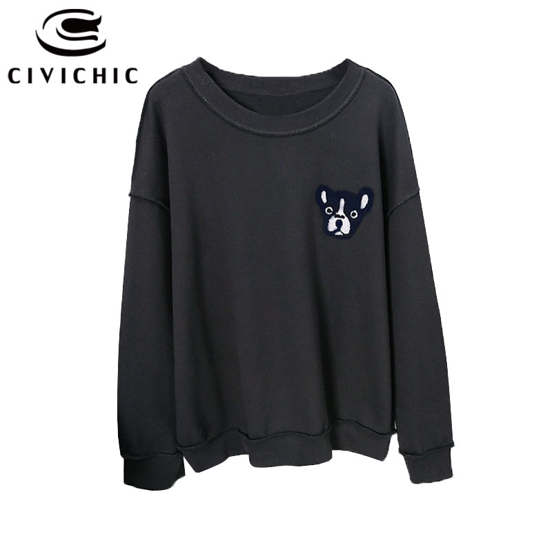 CIVI CHIC Stylish Puppy Embroidery Women Hoodie Bulldog Pullovers Retro Cotton Tops Vintage Loose Sweatshirt Dog Tees Wear WHD20