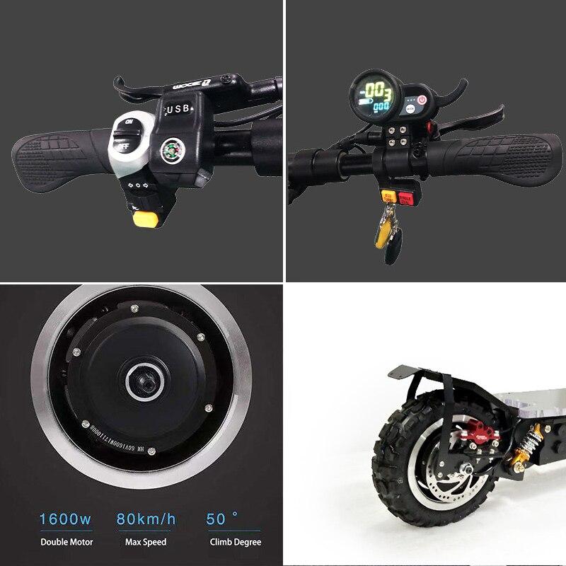 Scooter électrique puissant de 3200 W outre du Scooter électrique adulte de Longboard de planche à roulettes de route Scooter professionnel pliable électrique - 5