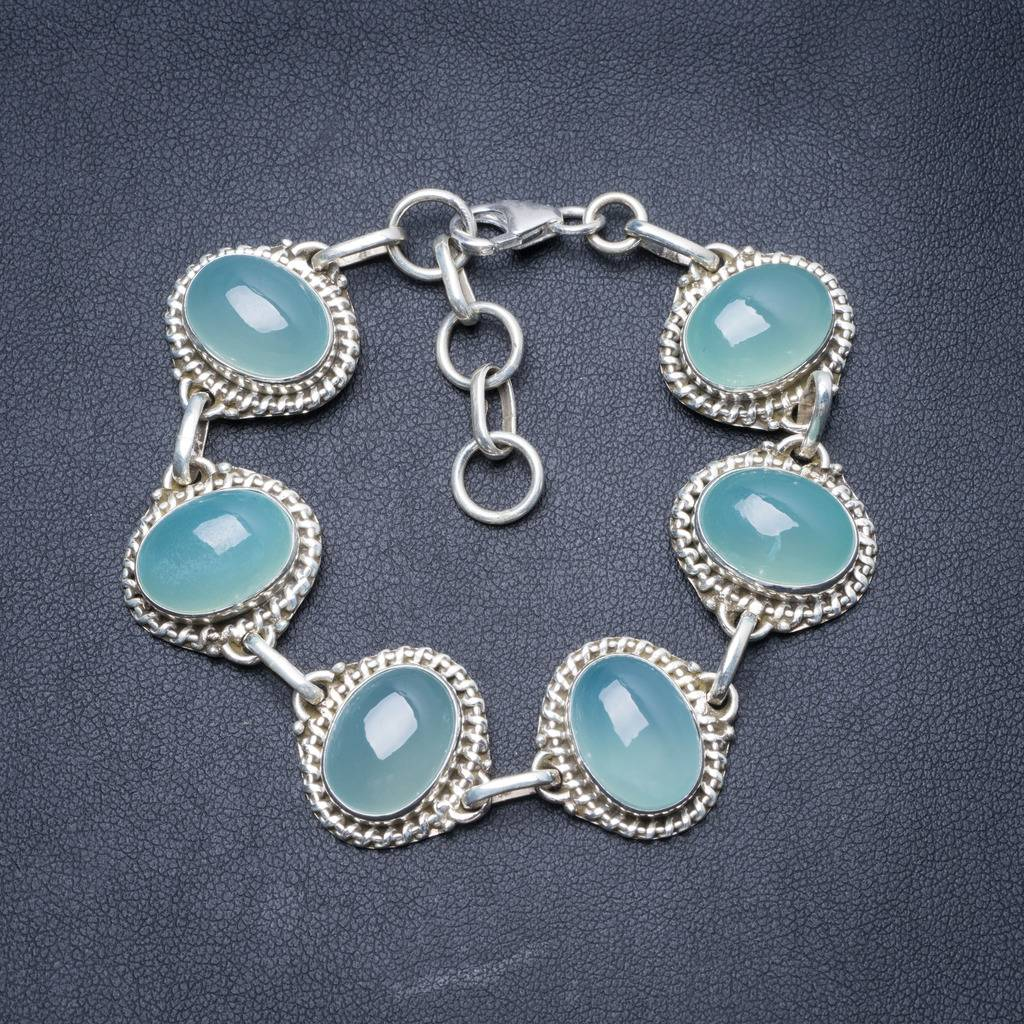 Natural Chalcedony Handmade Unique 925 Sterling Silver Bracelet 7-8 Y3401 цена