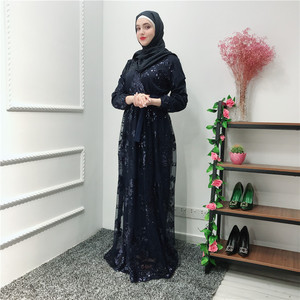 Image 4 - הרמדאן נצנצים תחרה העבאיה דובאי טורקיה האיסלאם המוסלמי חיג אב שמלת קפטן Abayas לנשים Jilbab קפטן בגדים קטאר Elbise Robe