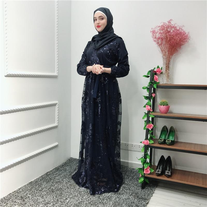 Image 4 - ラマダンスパンコールレースのためのドバイトルコイスラム教徒ヒジャーブドレスカフタン Abayas アバヤ女性 Jilbab  カフタン服カタール Elbise ローブ    グループ上の ノベルティ