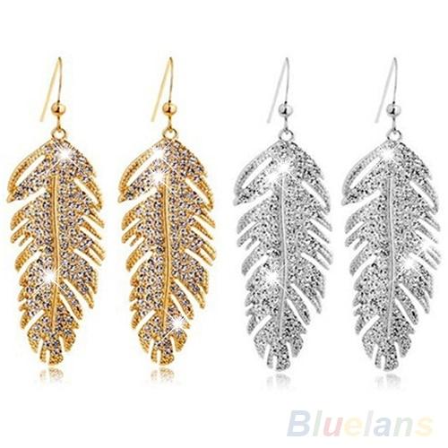 Women S Retro Boho Alloy Feather Rhinestone Eardrops Party Hook Dangle Earrings 1p4r