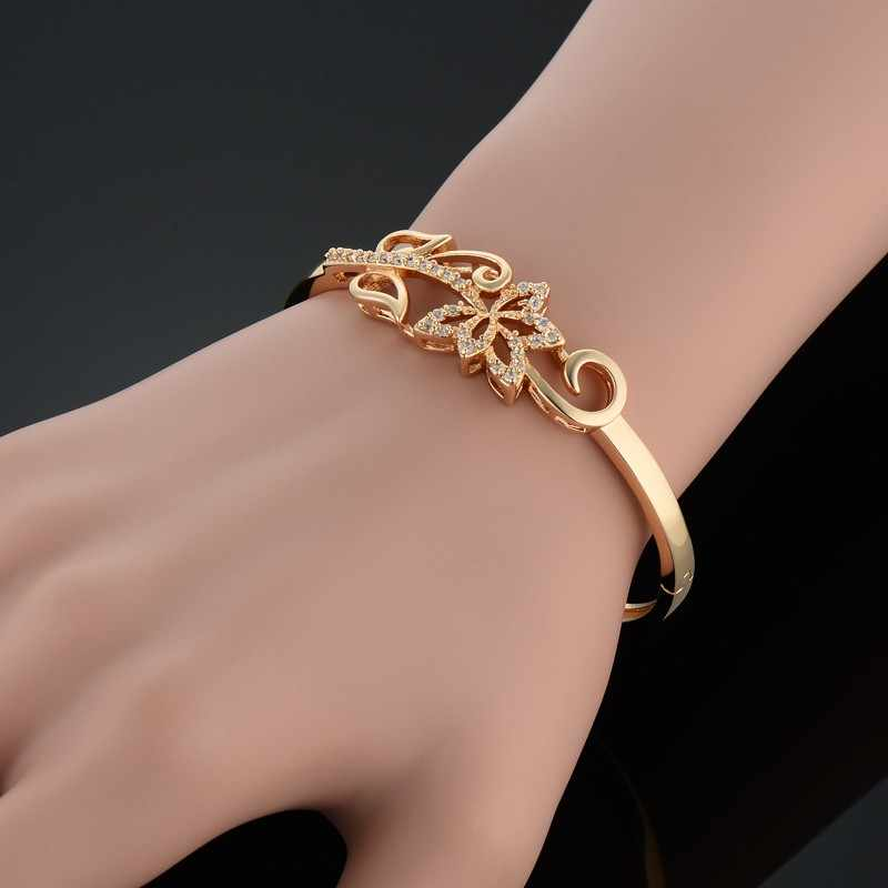 Trendy Paved Cubic Zirconia Leaf Bracelets & Bangles For Women Wholesale Braslet Gold Color Female Jewelry Pulseira