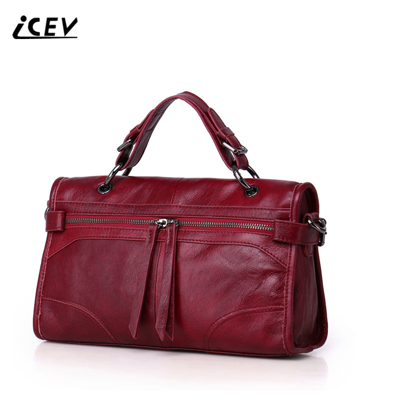 ICEV 2017 New Fashion 100% Genuine Leather Handbags Bags Handbags Women Famous Brands Women Leather Handbags Cow Leather Bag Sac chispaulo women genuine leather handbags cowhide patent famous brands designer handbags high quality tote bag bolsa tassel c165