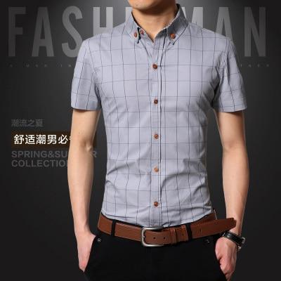 Новинка мужские Рубашки повседневные брендовые приталенные дизайнерские клетчатые рубашки с коротким рукавом мужские s одежда тренд социальные мужские s офисные рубашки 5XL - Цвет: Серый