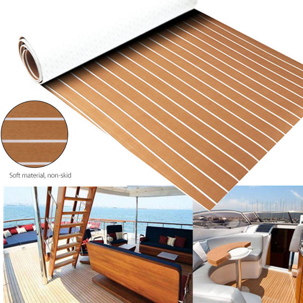 1 Piece Self Adhesive Teak Sheet Decking EVA Foam Marine Flooring Faux Boat Decking Sheet Accessories Marine 2400x600x6mm Brown