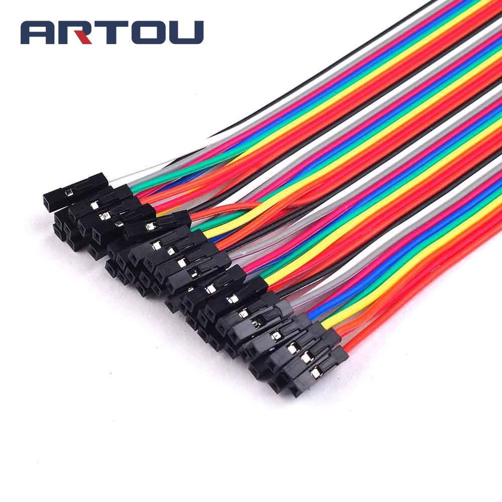40PCS=1Row 20cm 2.54mm 1P-1P Female To Female Jumper Wire Dupont Cable Breadboard