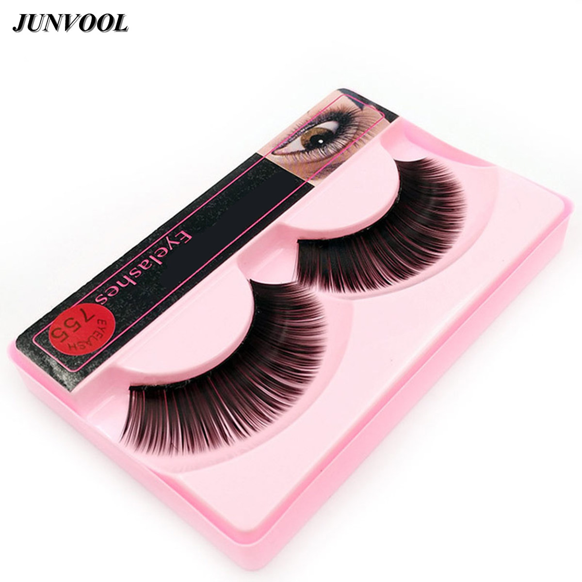 1 Pair False Eyelashes Makeup Very Thick Long Fake Eye Lashes Extention Tools Natural Black Cilia False Eye Lash For Ladies Girl