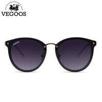 VEGOOS New Polarized Women Round Sunglasses Brand Designer Fashion Retro Cat Eye Polaroid Sun Glasses #6112