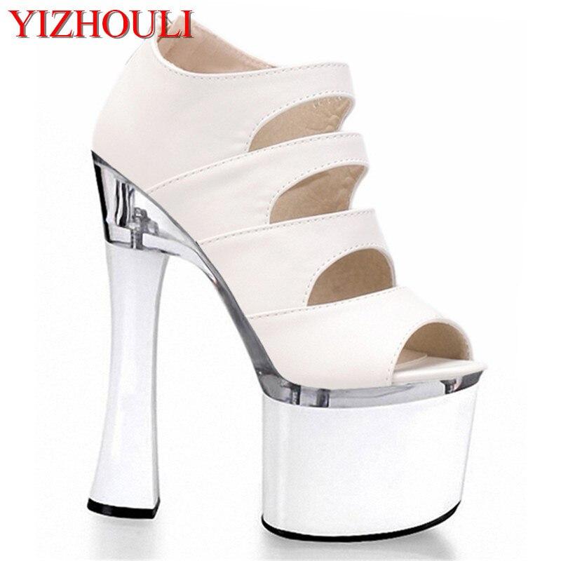 Haute Noir Creusent Sandales Poissons Cm Mariage blanc Femmes Sexy Pistes Chaussures Mariée Blanc Dehors Stiletto 18 De Pour Bouche Avec Mode tqw1H0