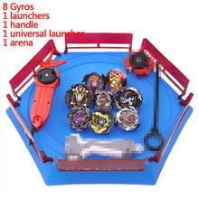Spins Top Gyros Set Stadium Arena Toys Metal Fight  4D Fusion With Launcher Handle Spinning Gifts #E