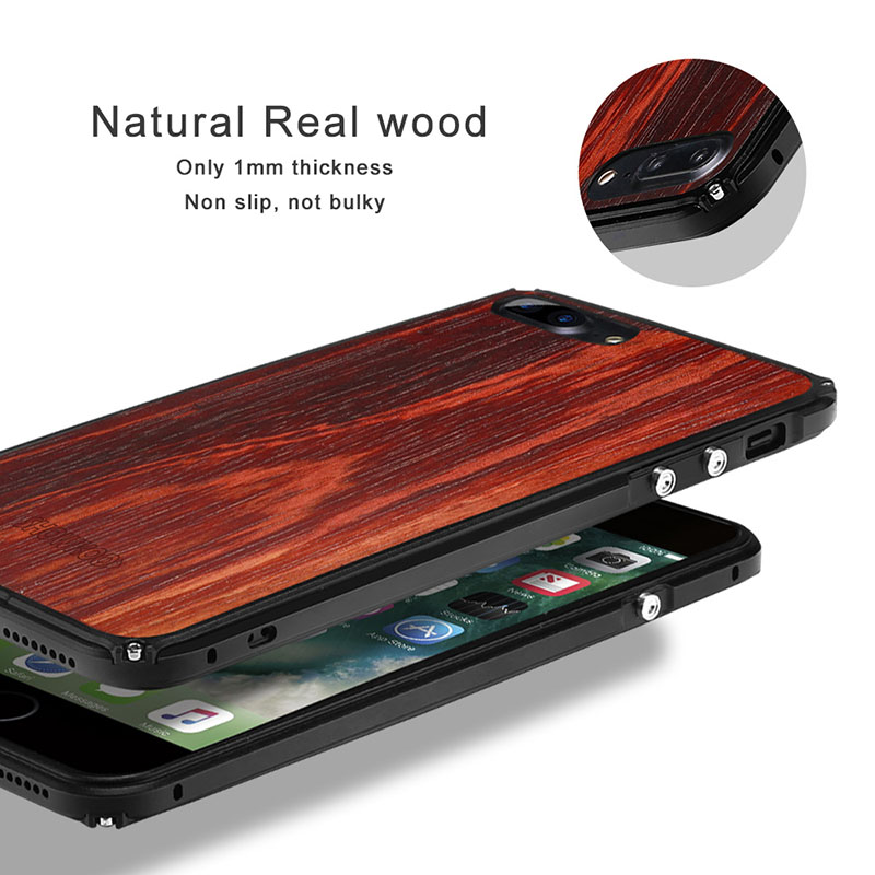 Showkoo Natural Wood Phone Case For <font><b>iPhone</b></font> 7 Plus 7 6S 6 Plus original wood+ Metal Frame perfect Integrated phone cover Case New