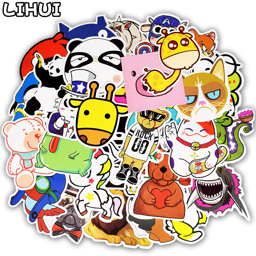 50pcs animal series sticker anime funny cartoon childrens stickers for kid diy laptop luggage bike fridge guitar car stickers