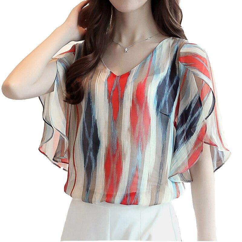 Free Shipping women blouse shirt fashion short-sleeved women casual loose chiffon blouse top ladies chiffon plus size 5052A3